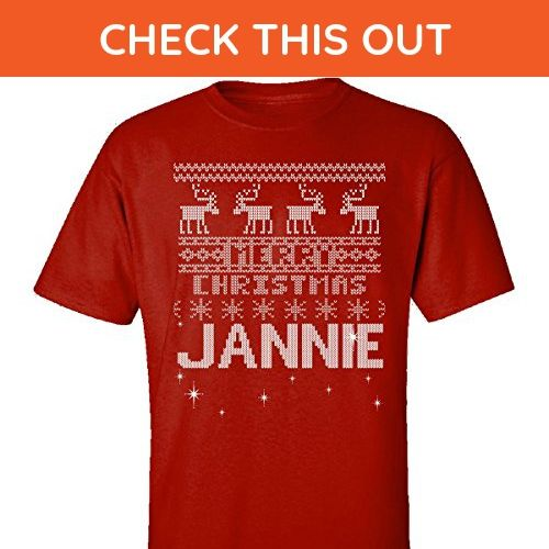 Ugly Christmas Sweater Greetings From Jannie - Adult Shirt 2xl Red - Holiday and seasonal shirts (*Amazon Partner-Link)