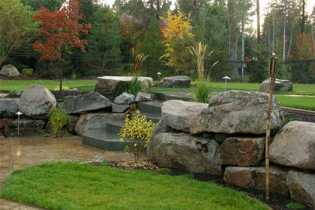 Boulder landscape wall retaining and landscape wall copper for Landscaping with rocks and boulders