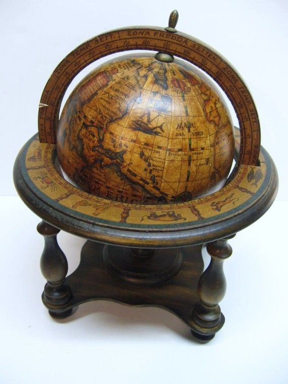 Antique Globe - Italy 1960's ...I'll design the whole library around it! - Antiqued Old World Syle Desk Top Globe - Italy - 1960s Mi Casa Su