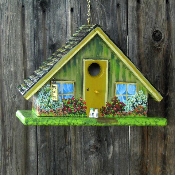 Handmade Green A Frame Birdhouse by BirdhouseBlessings on Etsy