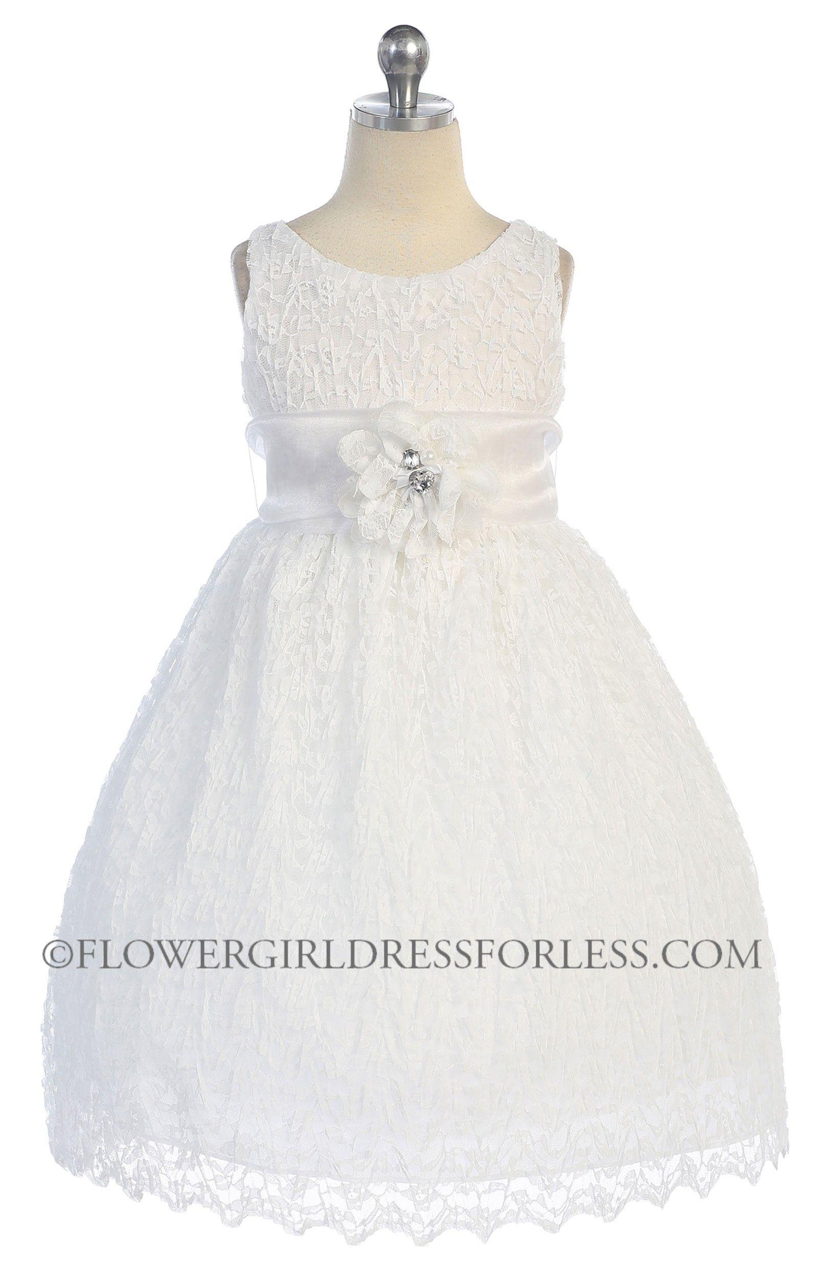 Cab730w Girls Dress Style 730 White Or Ivory Dress With 70 Sash