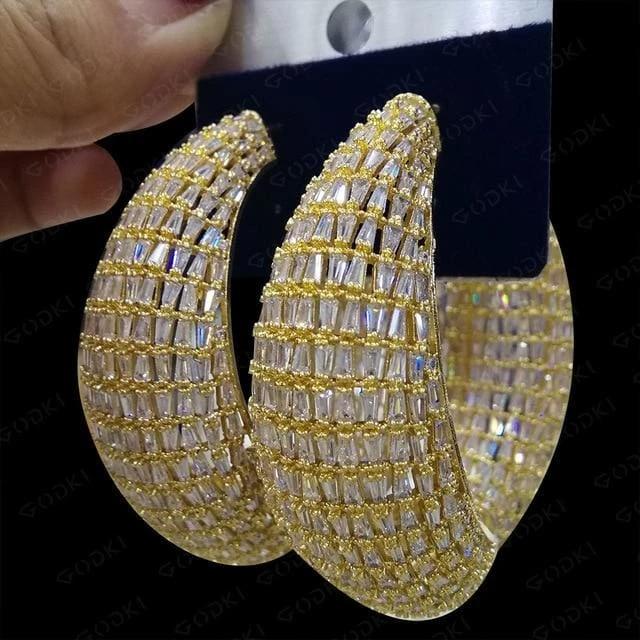 Luxury Zircon Crystal Chain Link Drop Hoop Earrings Party Jewellery