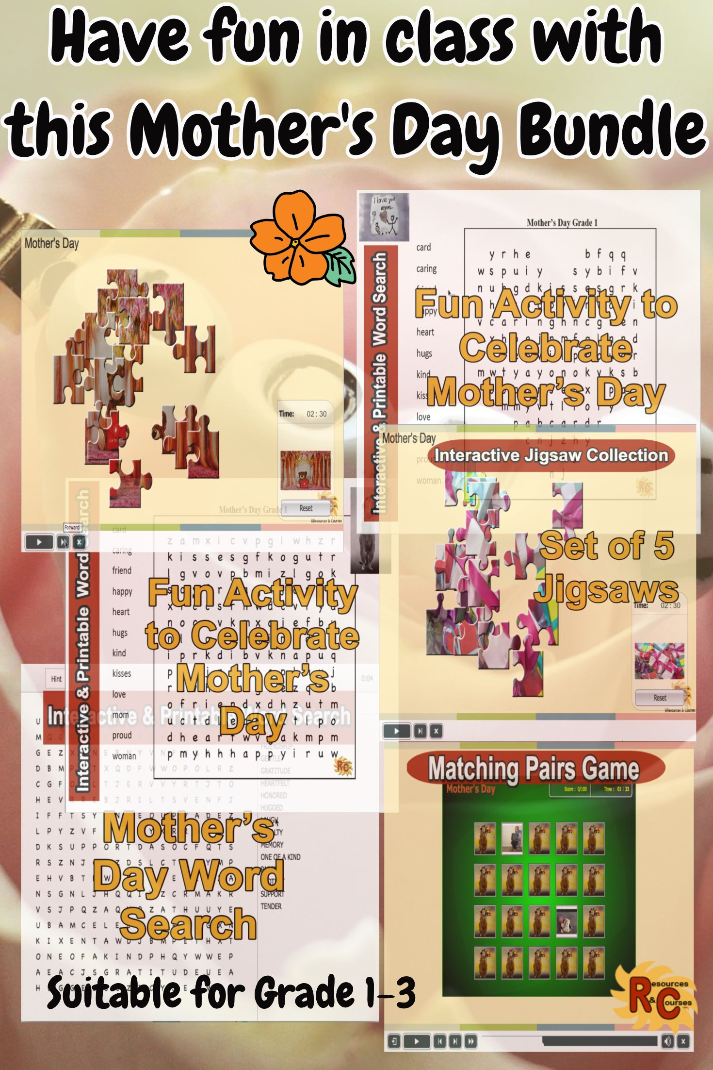 Mother's Day Games & Puzzles Bundle for Kids G1-3 | great tpt