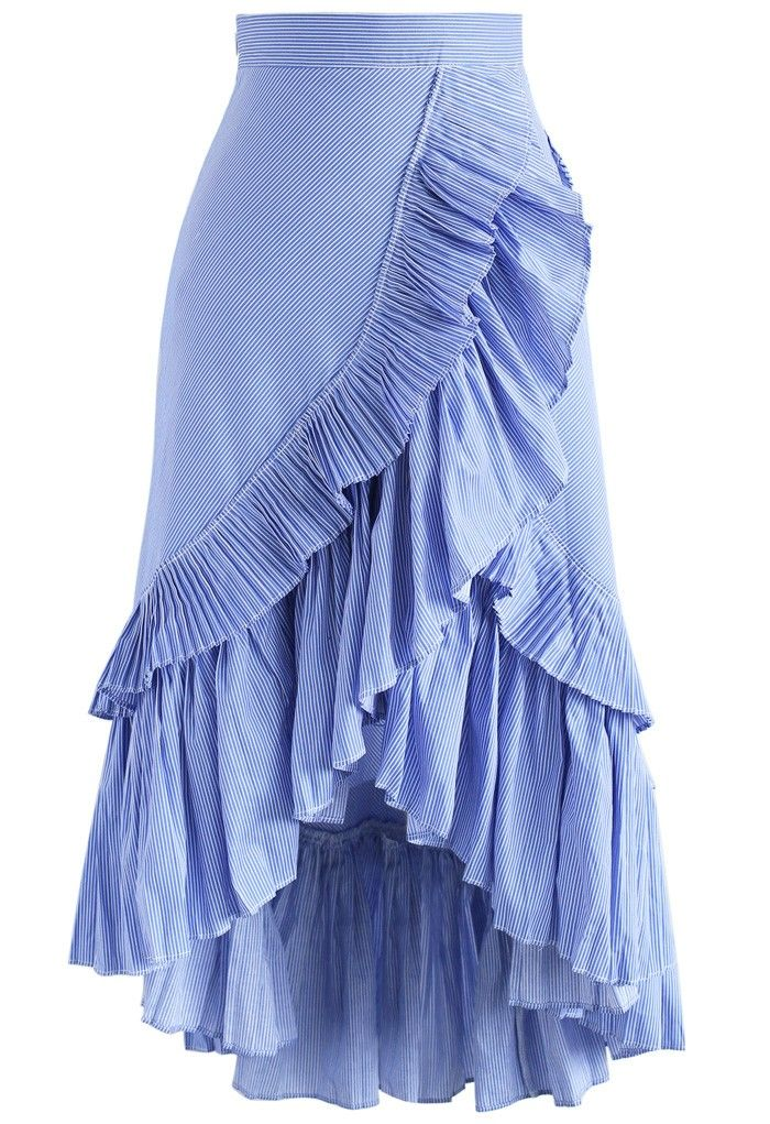 Applause of Ruffle Tiered Frill Hem Skirt in Blue Stripes ...