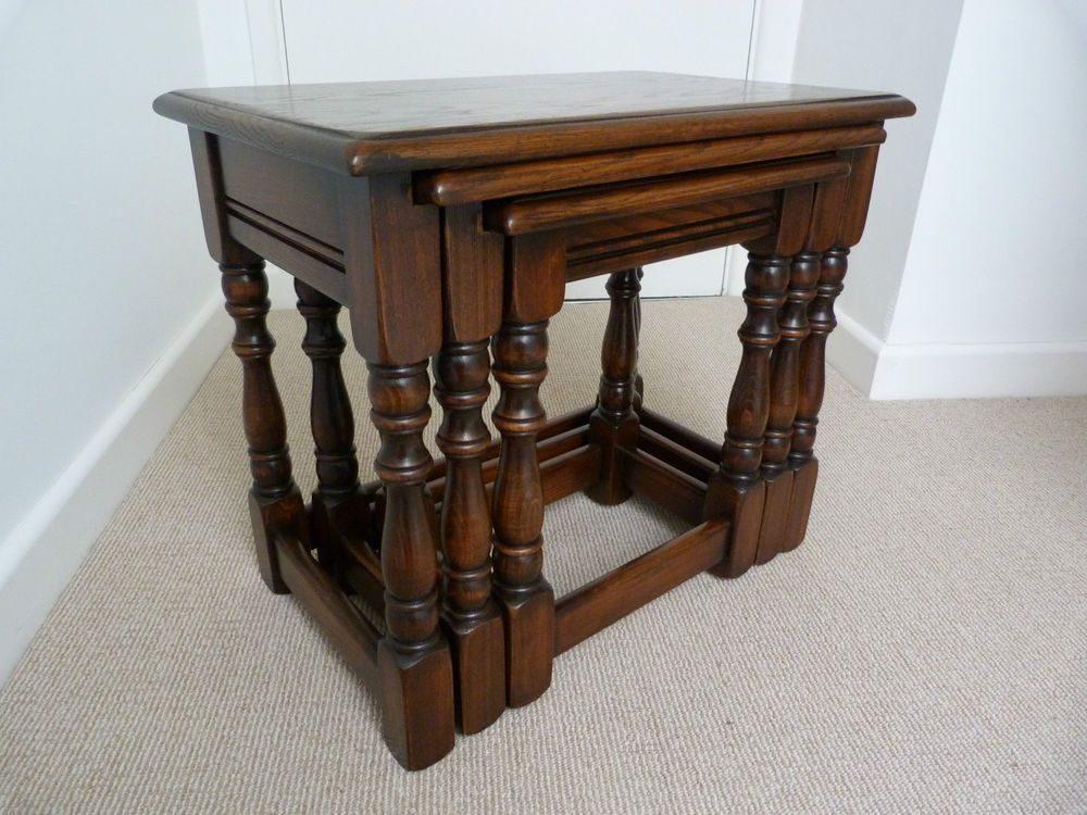 SOLID OAK NEST OF THREE COFFEE TABLES BY BEVAN & FUNNELL Excellent Condition