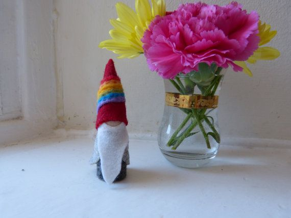 Bearded Stormy Rainbow Gnome nature table by stitchandpurl on Etsy