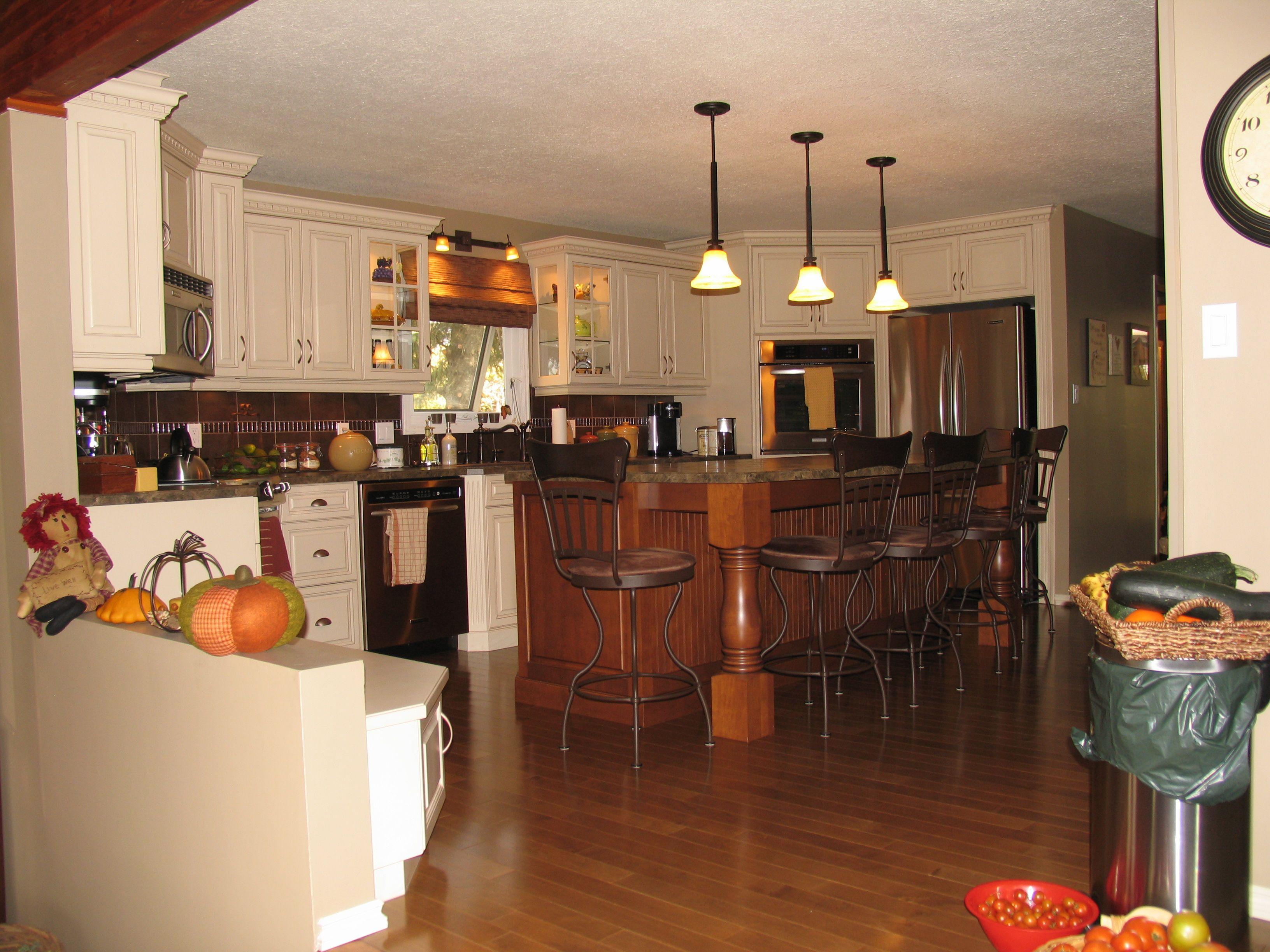 Kitchen Cabinets: Maple - Champagne, Island Cabinets ... on Maple Kitchen Cabinets With Black Countertops  id=28562