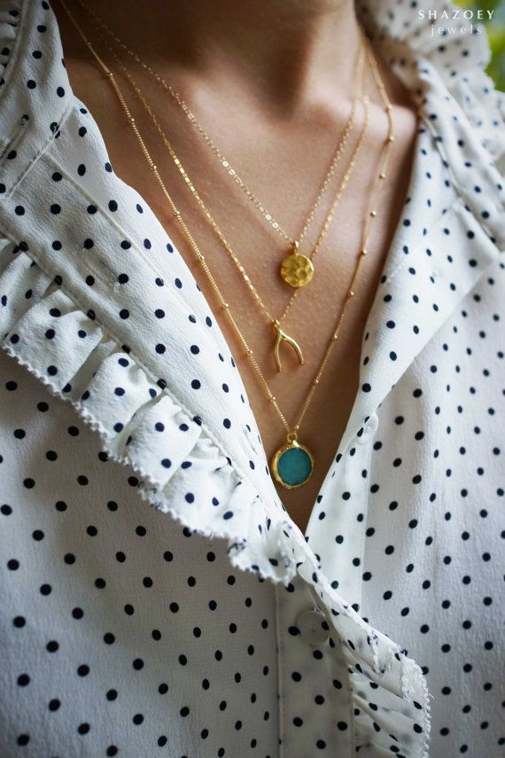 Jade Coin Necklace 14k Gold Filled Layering by SHAZOEY on Etsy, $89.00
