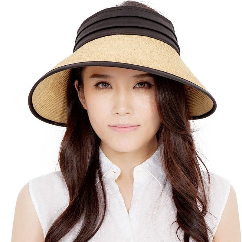 129bbe3f4cd51 Straw visor hat for summer wear wide brim sun hats