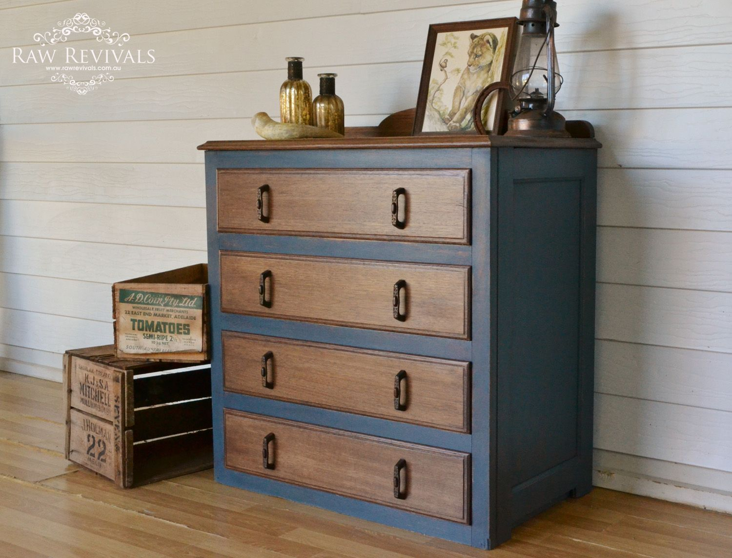 Restored antique 1920s chest of drawers painted in navy for Navy blue painted furniture