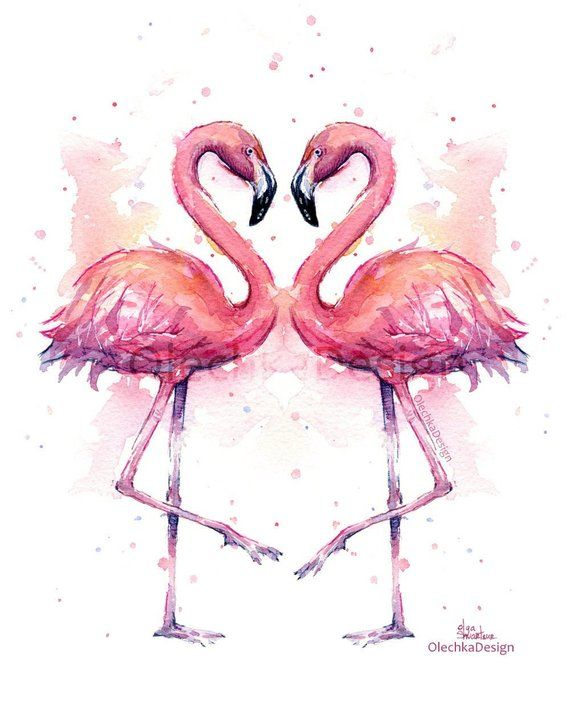 Flamingo Watercolor, Flamingo Art Print, Two Flamingos, Flamingo Decor, Flamingo Wall Art, Pink Flamingo Watercolor, Flamingo Love, Giclee
