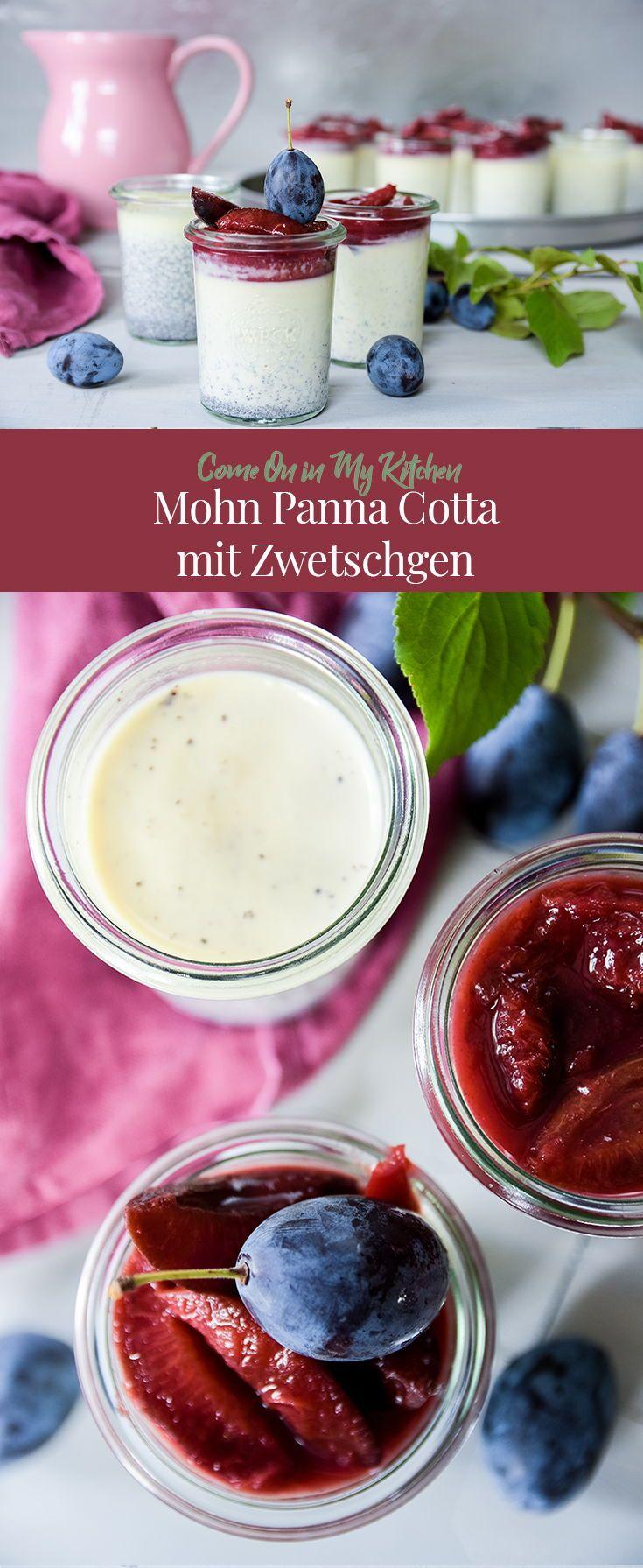 Mohn Panna Cotta mit Zwetschgen-Kompott - Home and Herbs #falldesserts