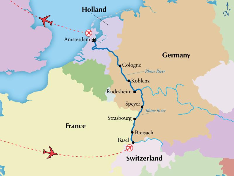 Rhine River World Map 7 Night Deluxe Rhine River Cruise   Upgraded Cabin A | Rhine river