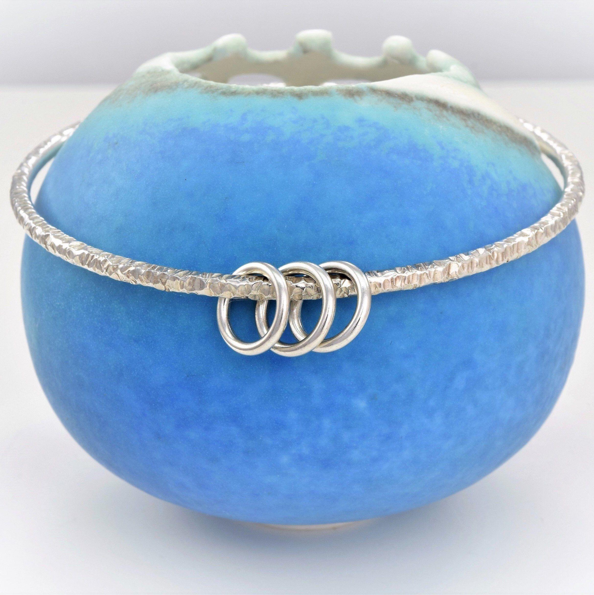 30th birthday gift silver 3 ring decade bangle 20th