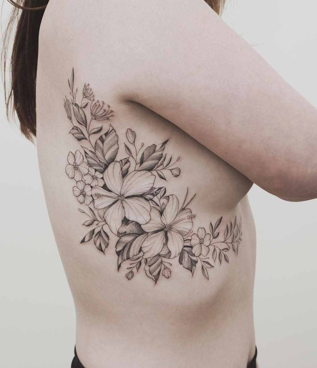 Island And Nz Native Floral Fineline Side Tattoo By Tritoan Ly Rib Tattoo Tattoos For Women Flowers Side Tattoos