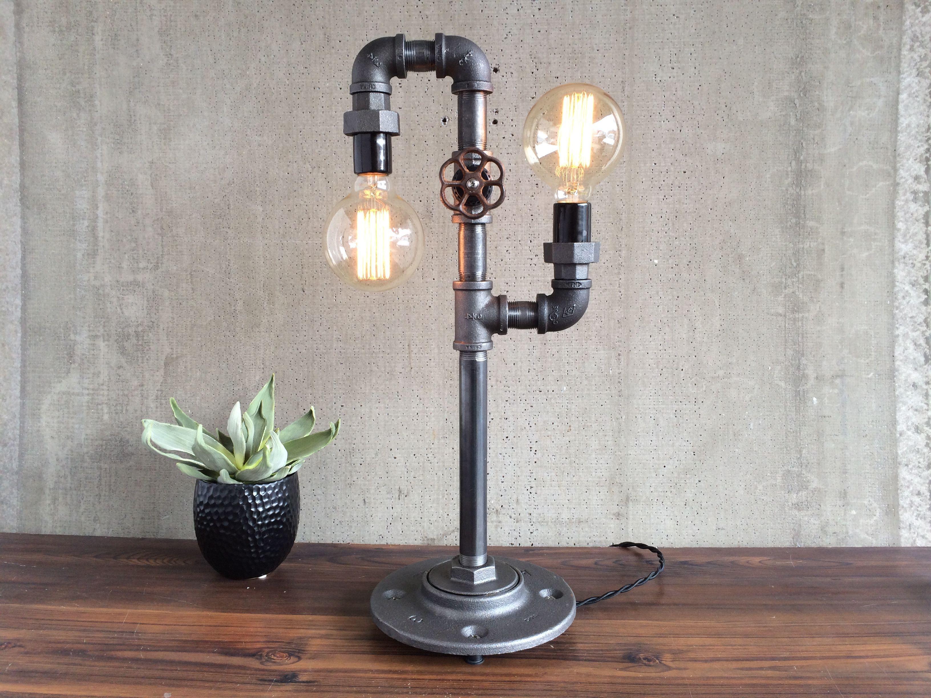 edison bulb desk lamp brass custom made industrial edison bulb light iron pipe table lamp