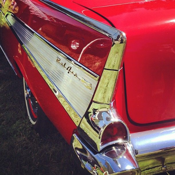 Photo by Instagram user, 8amphotog, showing the fin of a Bel Air at the Father's Day car show in Murrieta.