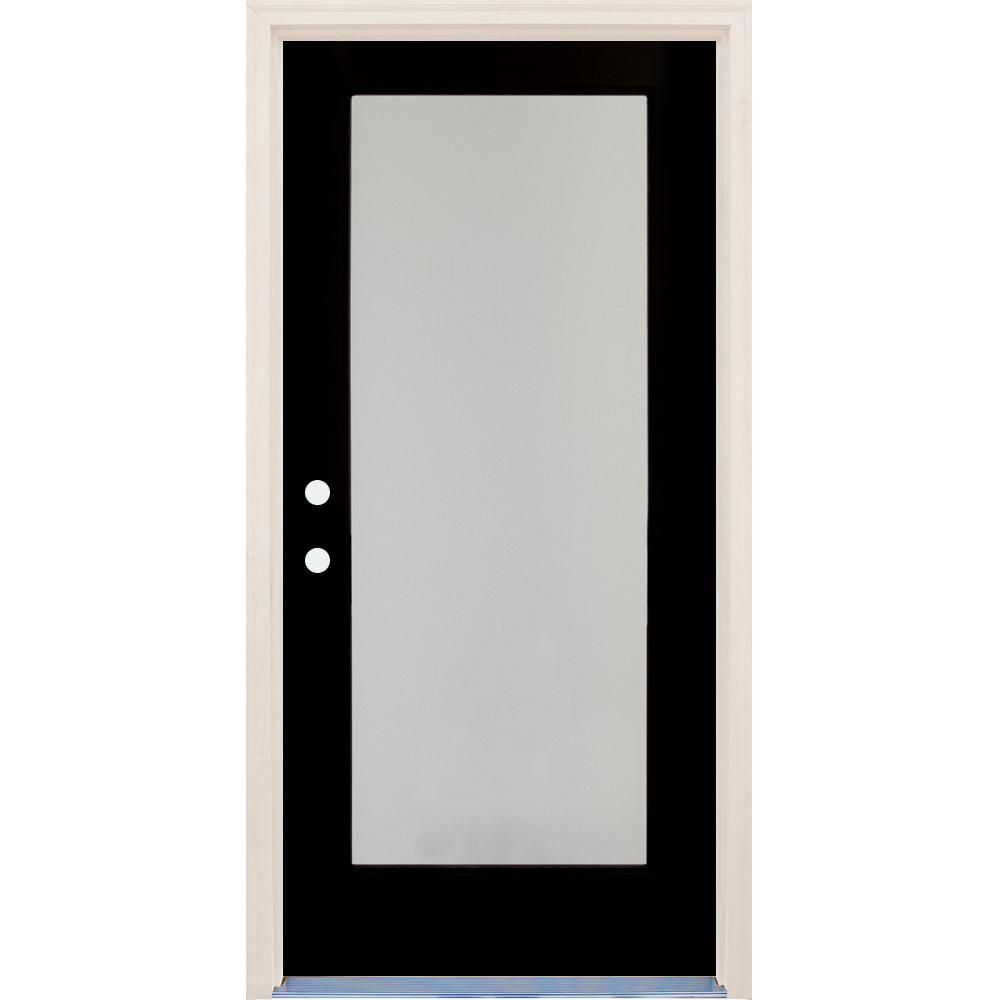 Builders Choice 36 In X 80 In Elite Engine Left Hand Full Lite Satin Etch Glass Contemporary Painted Fiberglass Prehung Front Door Hdxd188897 With Images Front Door Glass Front Door Black Entry Doors