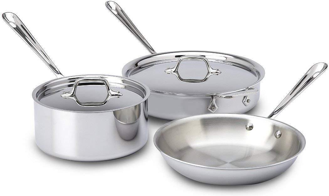 Allclad 401599 Stainless Steel Triply Bonded Dishwasher Safe Cookware Set 5piece Silver Ki Cookware Set Stainless Steel Dishwasher Safe Cookware Cookware Set