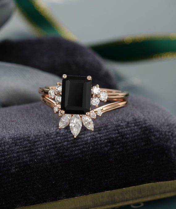 Photo of 2PCS Emerald cut Black Onyx engagement ring set vintage Rose gold engagement ring for women art deco Marquise cut Moissanite wedding gift