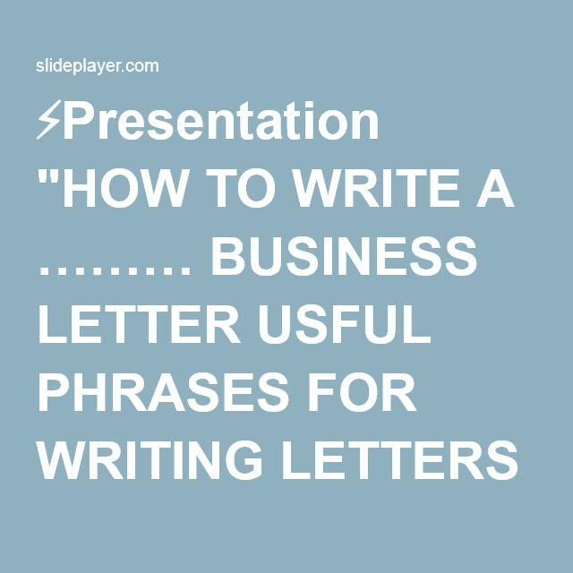 ⚡Presentation \ - business letters