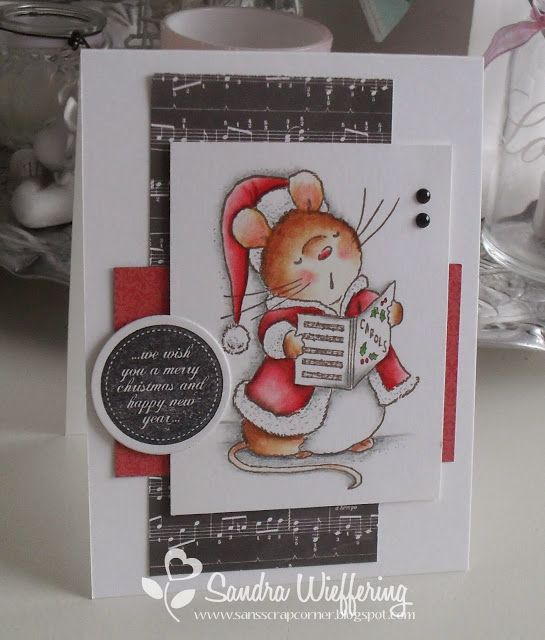 We Wish You A Merry Christmas singing mouse card Made by Sandra