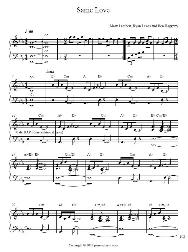 Piano piano tab sheet music : Same Love Piano Sheet and Piano Tutorial | piano sheets ...