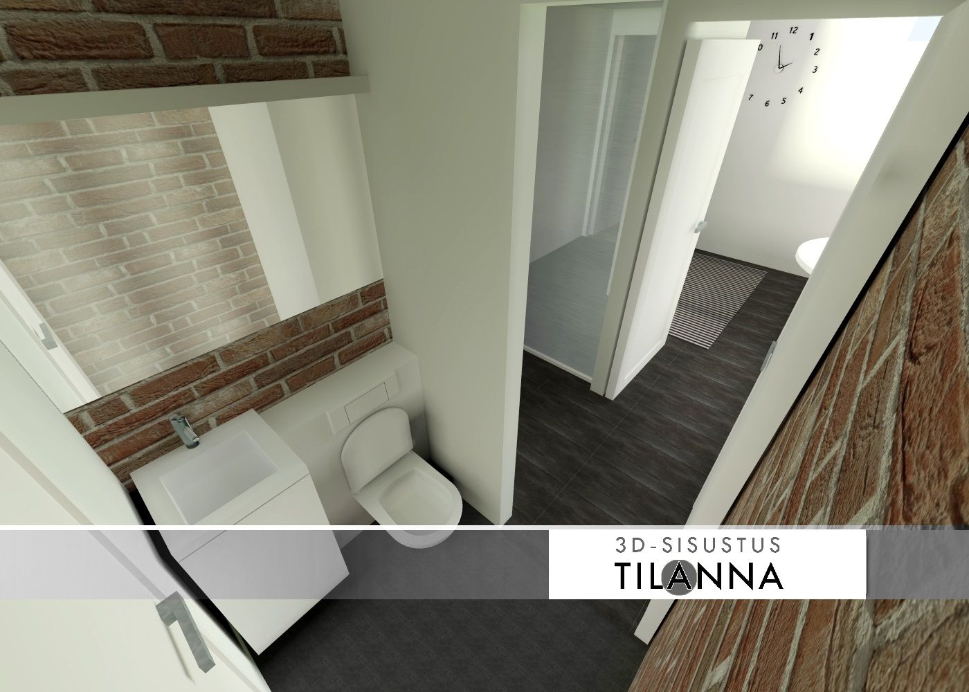 3D - sisustussuunnittelu / wc, tummanharmaa laatta lattialla, keraaminen tiililaatta ja valkoiseksi maalattu seinä sekä valkoiset kiintokalusteet, seinä-wc, red tile and wall painted with white, bathroom, wall-mounted toilet / 3D-sisustus Tilanna, sisustussuunnittelija Jyväskylä