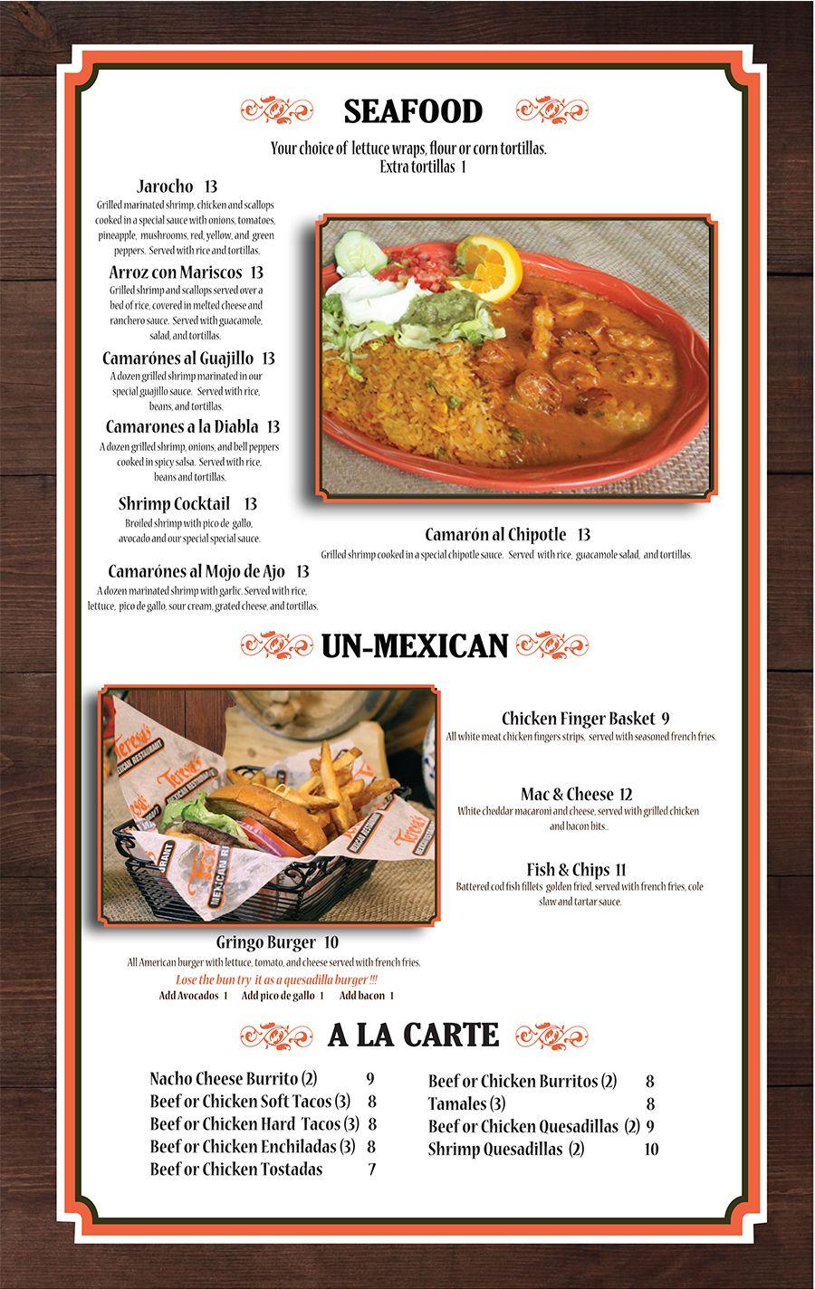 Menu   Teresa Mexican Restaurant   Restaurant menus   Pinterest ...