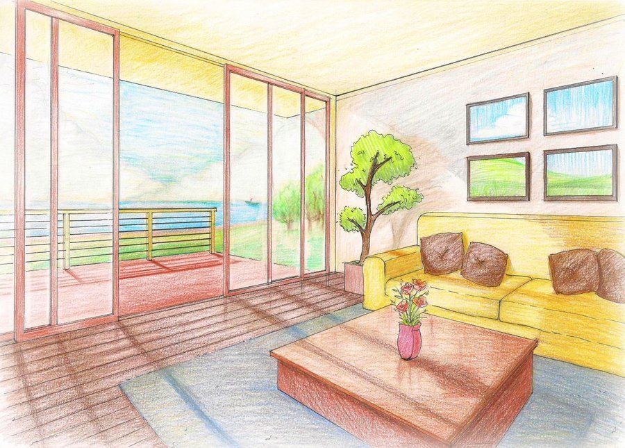 Living Room Perspective Drawing Room Interior Drawing Interior