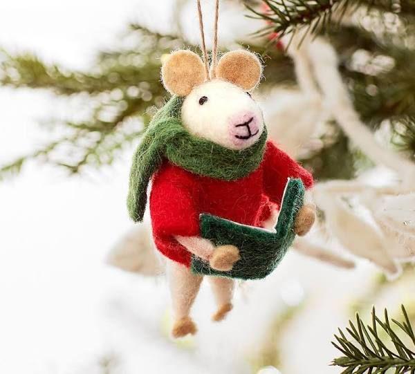Felt Ornament Mouse W Bookone Sizemulti Cat Christmas