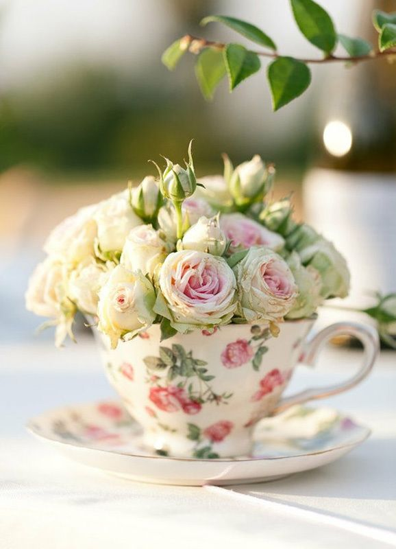 tiny roses in floral tea cup via theglutenfreehoneybee.blogspot.com