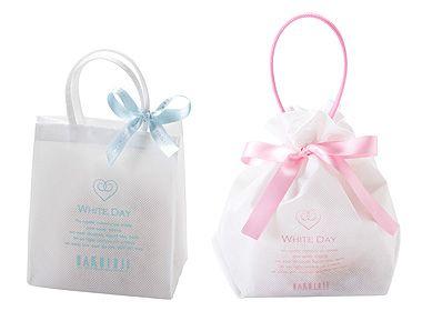 OKayama|Sweets|HAKUJUJI|岡山 おかやま|スイーツ| 白十字|フロスト¥525/コフレ¥735    White Day専用の不織布の袋に焼き菓子を詰め合わせました。[ フロスト¥525(左)/コフレ¥735(右)]