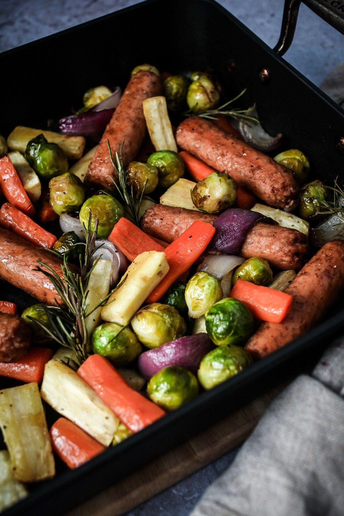 Vegan Christmas Veg Sausage Traybake Wallflower Kitchen Recipe Vegan Christmas Recipes Vegan Recipes