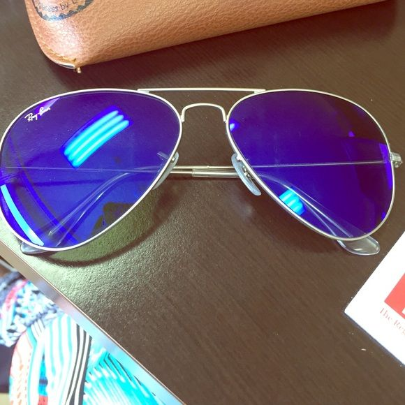 f547d0b14ede8 Includes case. NOT polarized. They are in good condition. Will take  reasonable offers! Ray-Ban Accessories Sunglasses. Ray-Ban Aviator blue violet  mirrored ...