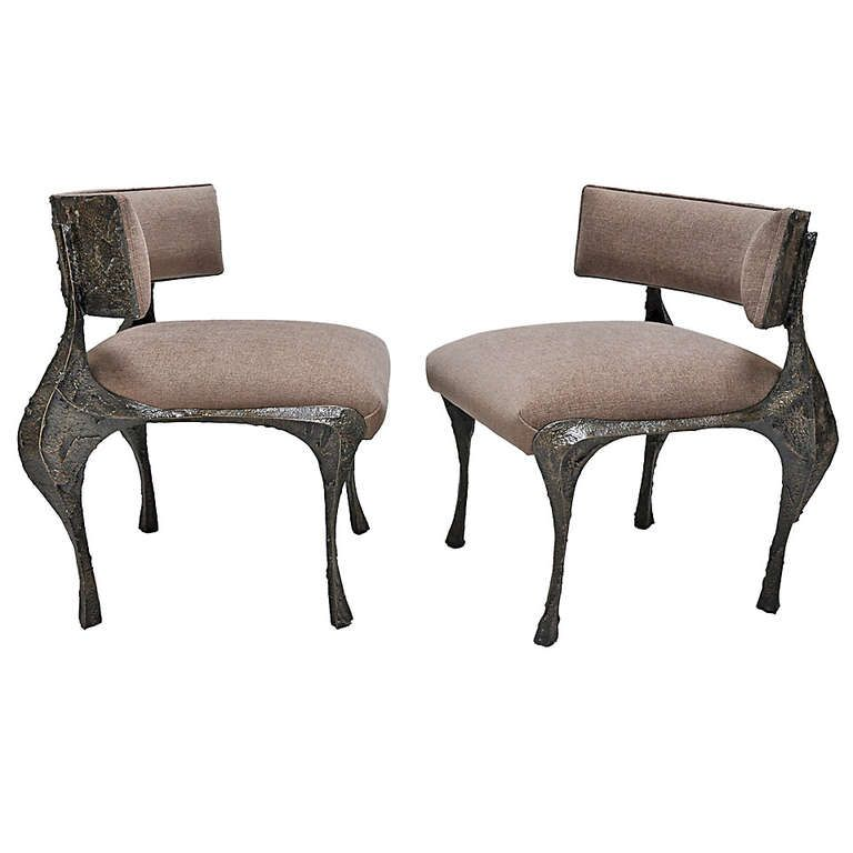 Paul Evans / Pair of Sculpted Bronze Chairs / c. 1969