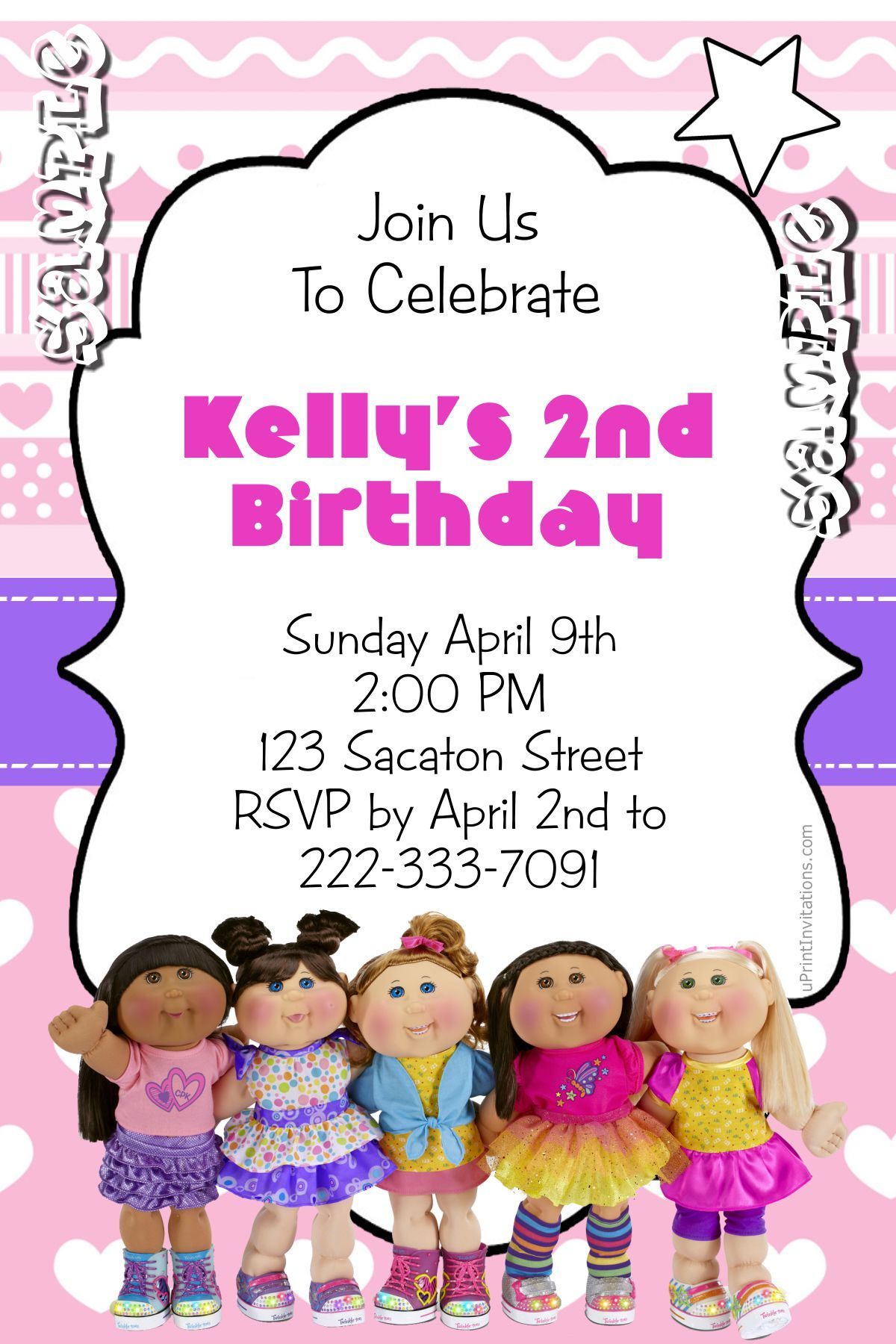 Cabbage Patch Kids Birthday Invitations ALL COLORS - Digital ...