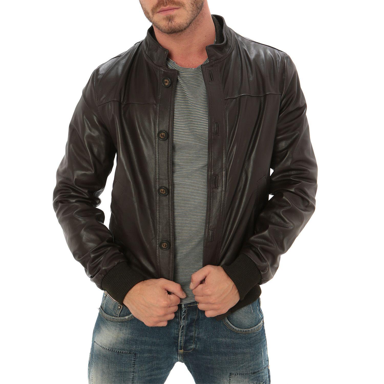Button Bomber Jacket // Dark Brown Bomber jacket, Gray