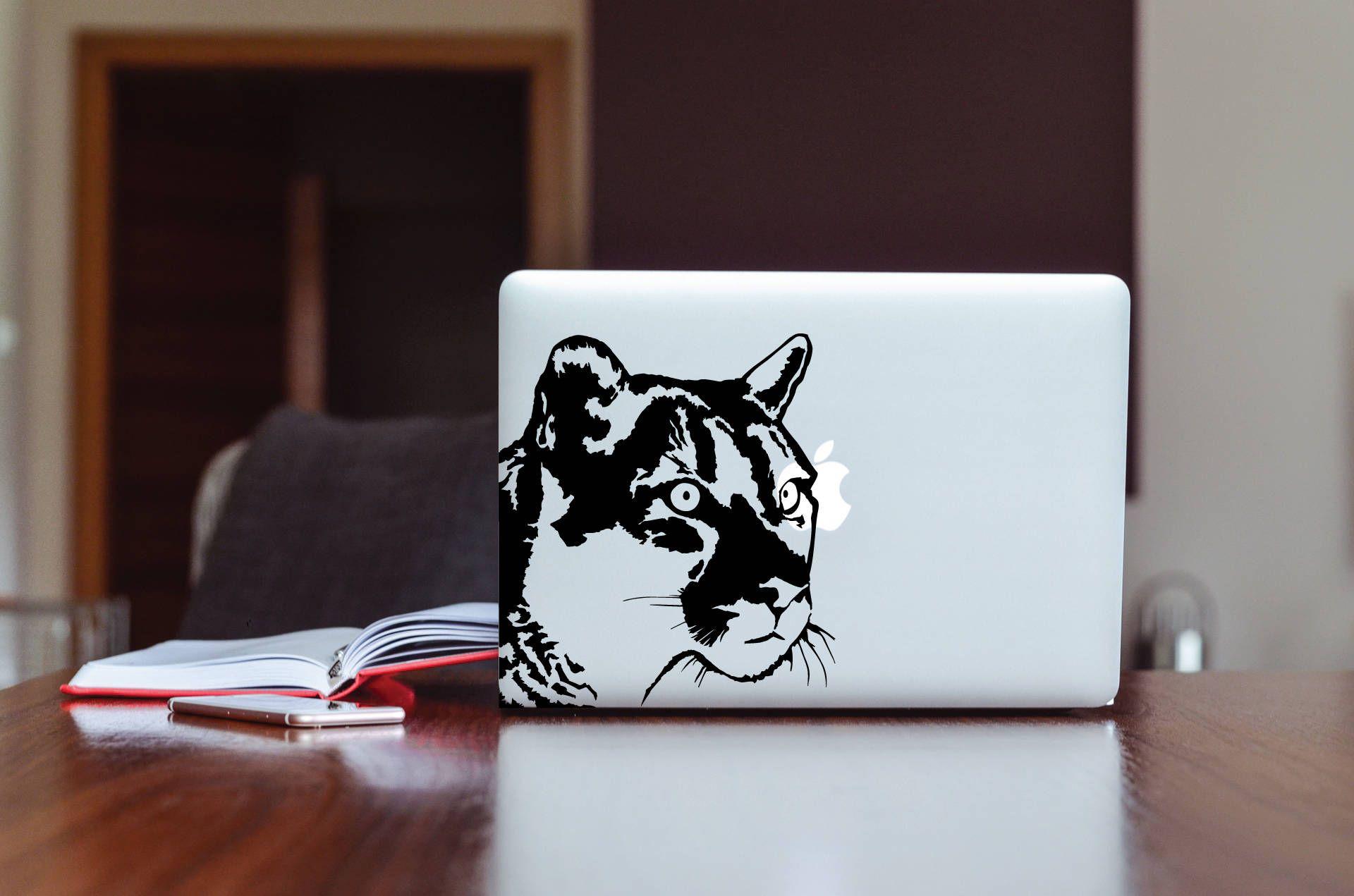 Wild cat wildlife puma jaguarpanteracougar mountain lion lioness decal design for macbooklaptop etc high quality matte vinyl sticker by