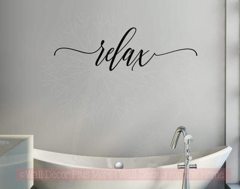 Relax Cursive Vinyl Lettering Bath Wall Decor Bathroom Wall Decals