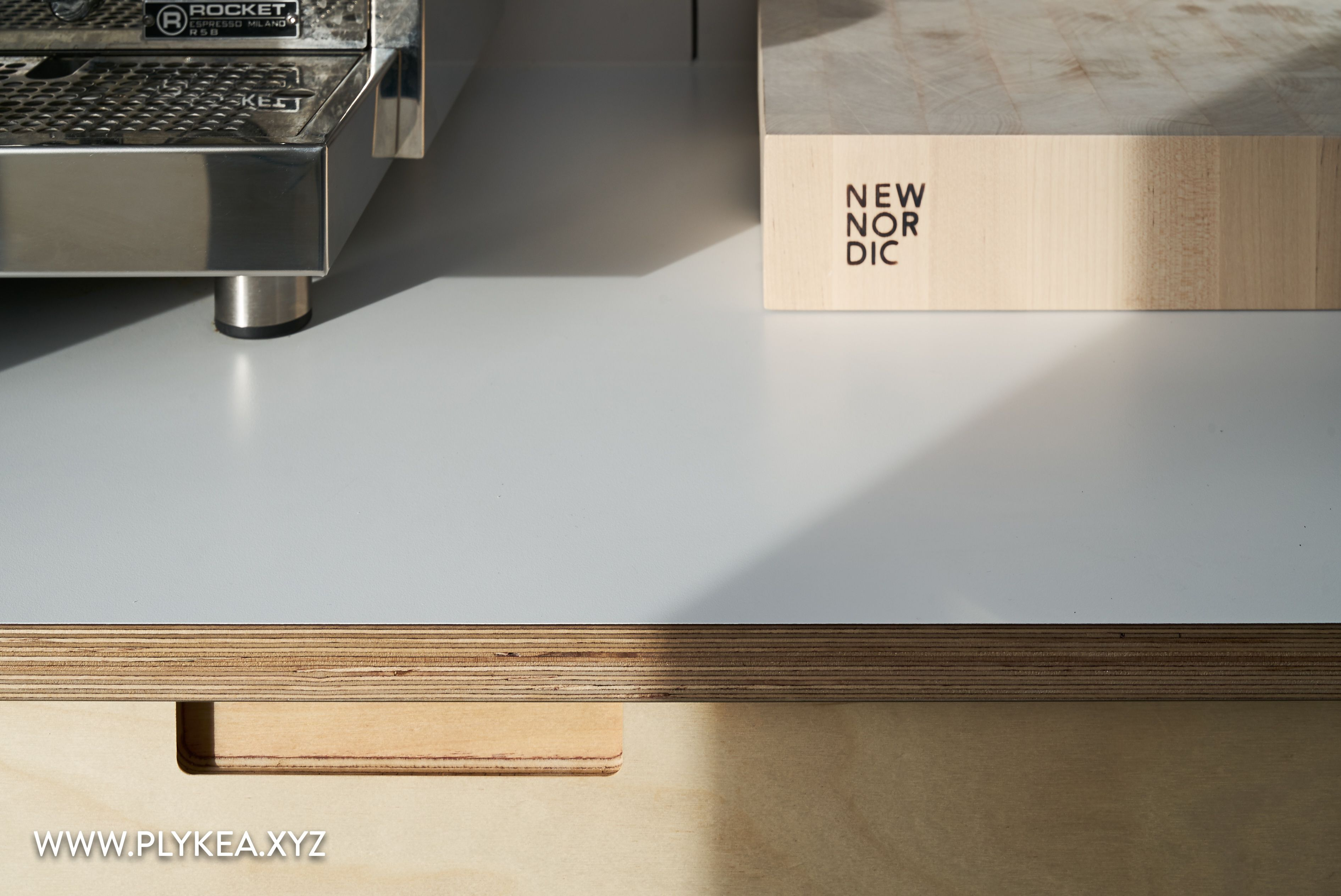 This Kitchen Features Birch Plywood Fronts With Our Semi Recessed Handles And Crystal White F3091 Formica Faced Plywood Kitchen Plywood Countertop Ikea Kitchen