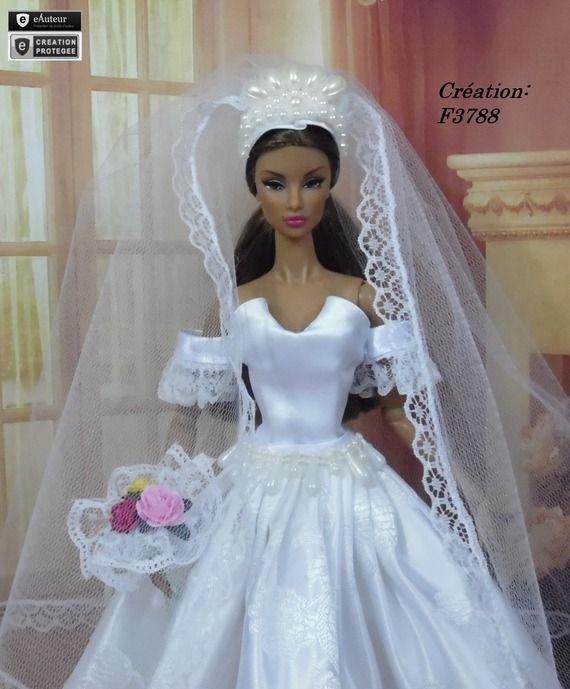 Robe barbie mari e n 22 v tement pour poup e barbie - Barbie mariee ...