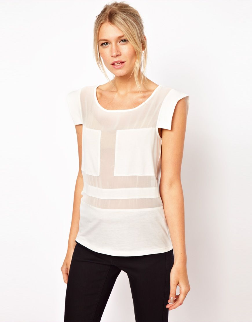 Top with blocked sheer panel