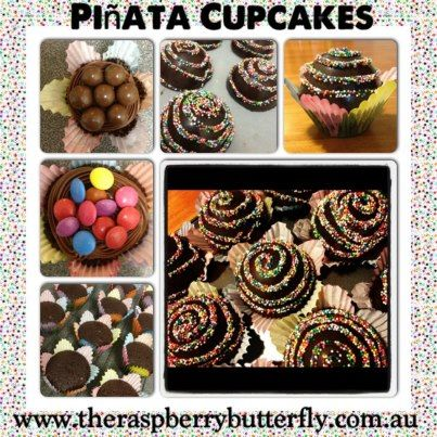 Great Pinata Cupcakes -   Bake cupcakes, then ice when cool and sprinkle with your choice if lollies on top, such as smarties, maltesers, gummy bears etc. Make chocolate cups using the Wilton Dessert Dome Candy Mold. Once set, pipe a chocolate swirl on top and cover in sprinkles. Place on top of lollie-covered cake to make a piñata cupcake. The kids will love the surprise of what's inside as much as they will enjoy smashing the…