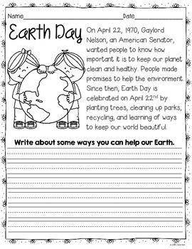 Earth Day Printables Grades 1 2 Short Stories For Kids Grade 1