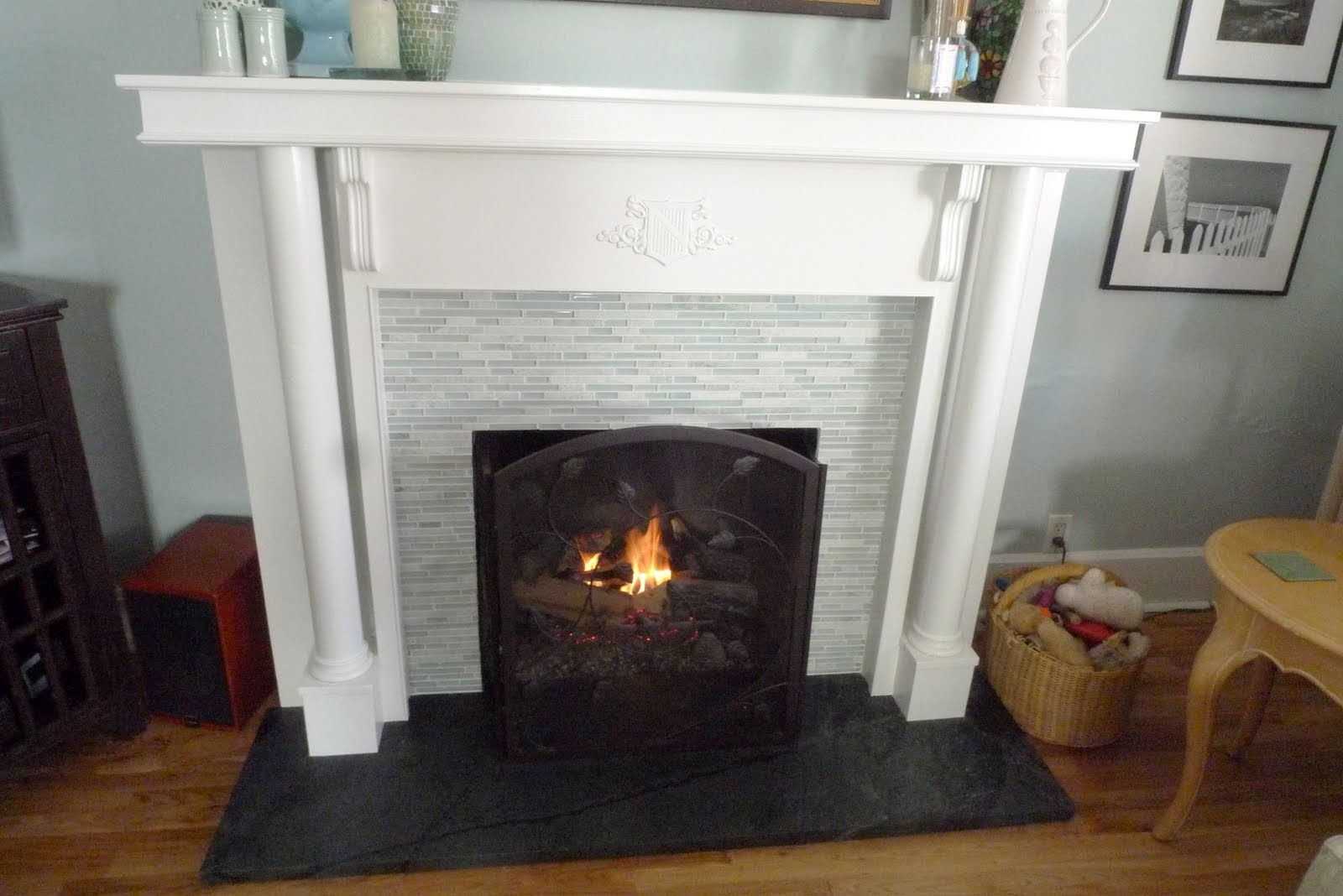 Soapstone Hearth And Gray Tile Painted Wood Floors