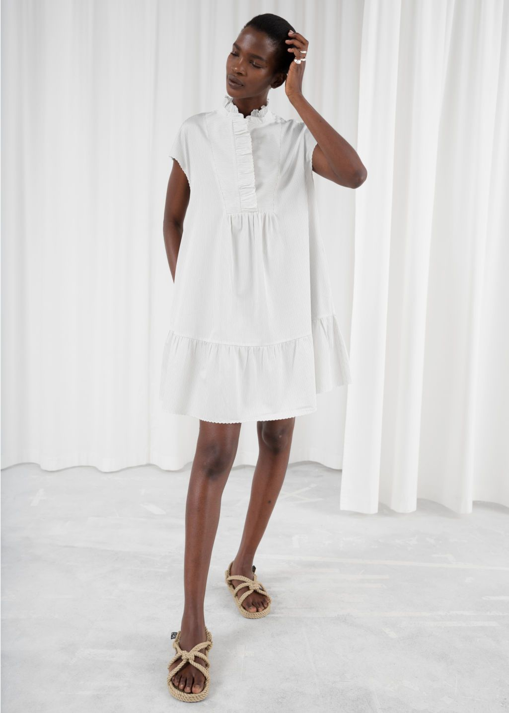1315db2414e5b Ruffle Bib Shirt Dress | Sewing in 2019 | Dresses, Dress outfits ...