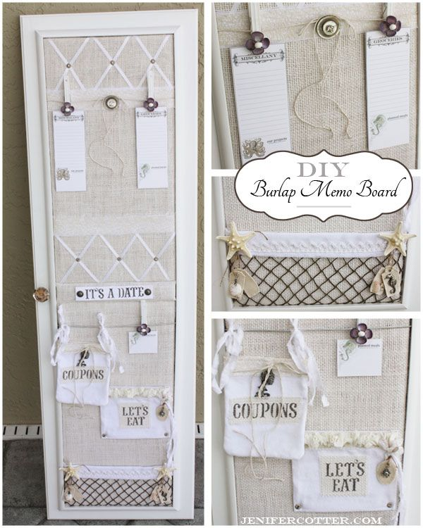Simply Sensational Tuesday 20 Organizing Homelife Diy Memo Board Burlap Crafts Diy Cute Diy Room Decor