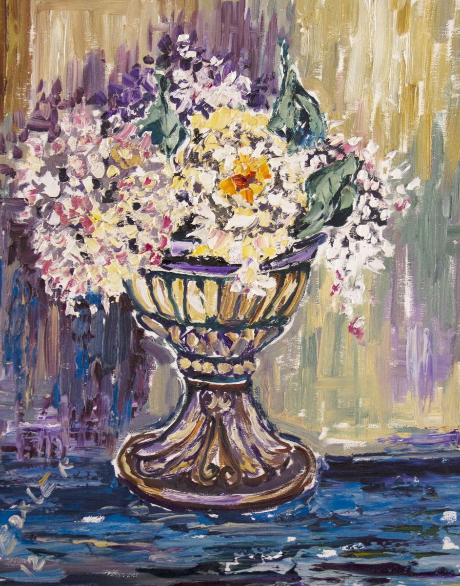 White Flowers in the Cup Oil on Canvas 16 x 20 2012