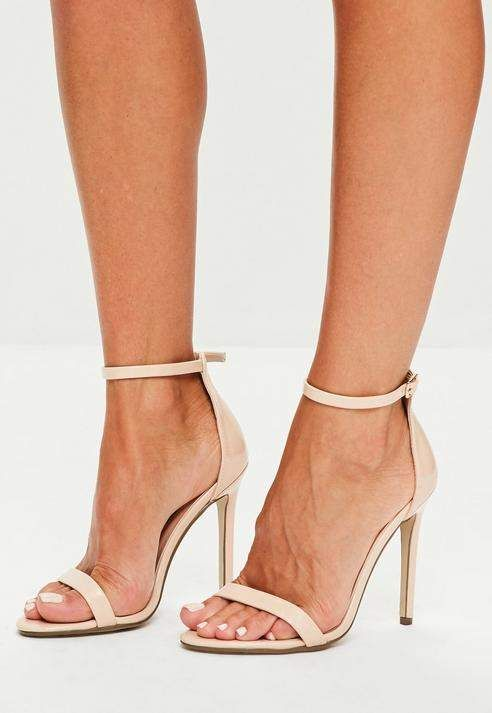 bc414e4c39f Missguided Nude Two Strap Barely There Heels